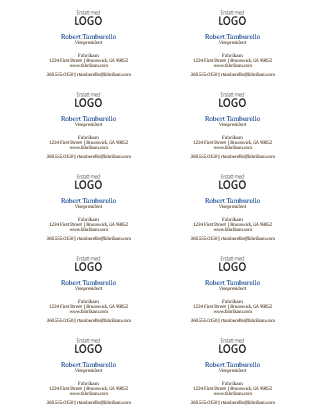 Visittkort, vannrett oppsett med logo (10 per side)