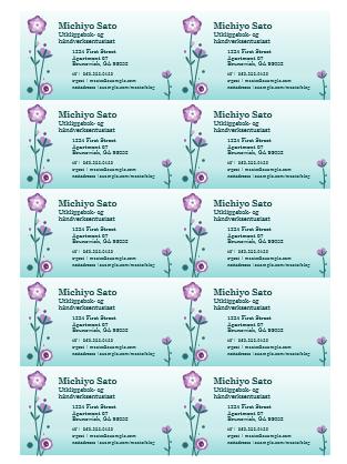 Visittkort (blomsterillustrasjon, 10 per side)