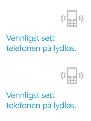 Plakat med påminnelse om å slå av mobiltelefonen