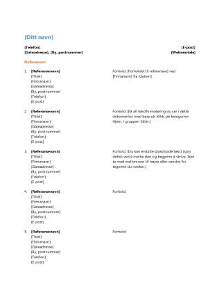 Referanseliste for CV (funksjonell utforming)