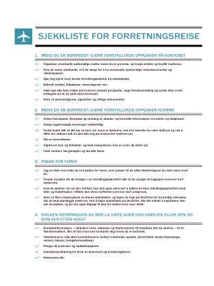 Sjekkliste for forretningsreise