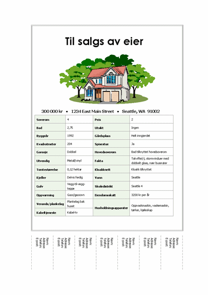 Flygeblad med hus og avrivningslapper