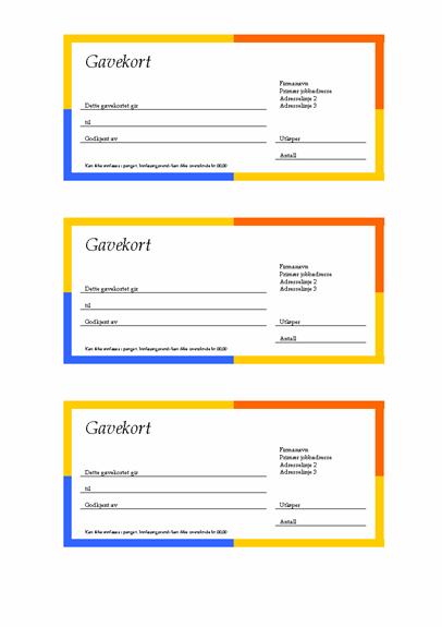 Gavekort (kantlinje med flere farger, 3-opp)