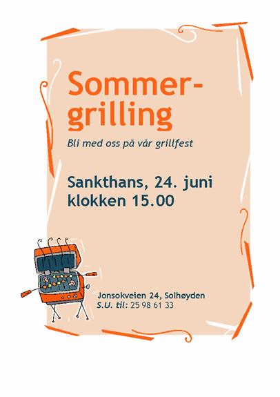 Invitasjonsflygeblad til grillfest
