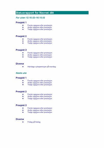 Ukentlig statusrapport for ansatt