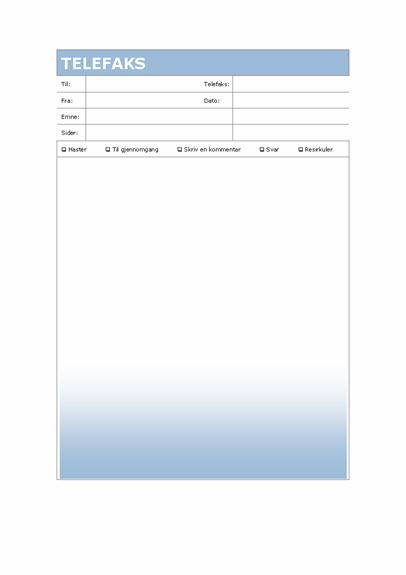 Faksforside (Blå gradering-tema)