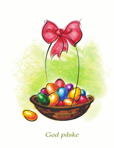 Påskekort (med kurv med egg)