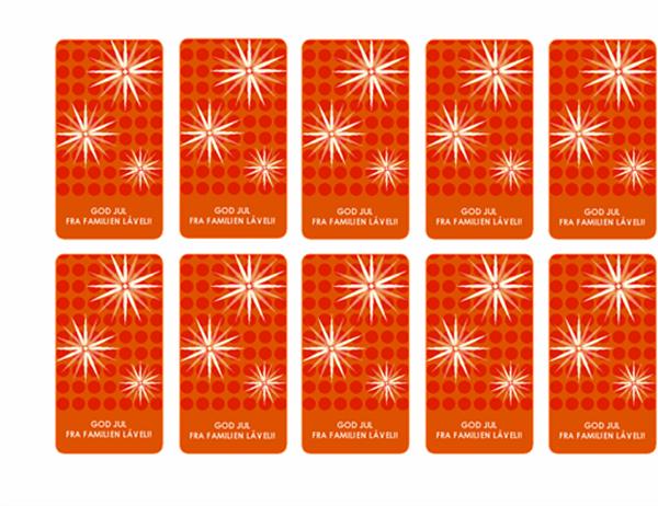 Pakkelapper til jul (med snøfnugg, kan brukes med Avery 5871, 8871, 8873, 8876 og 8879)