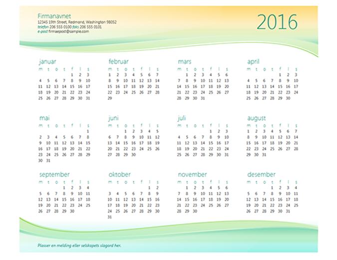 Kalender for små bedrifter (alle år)