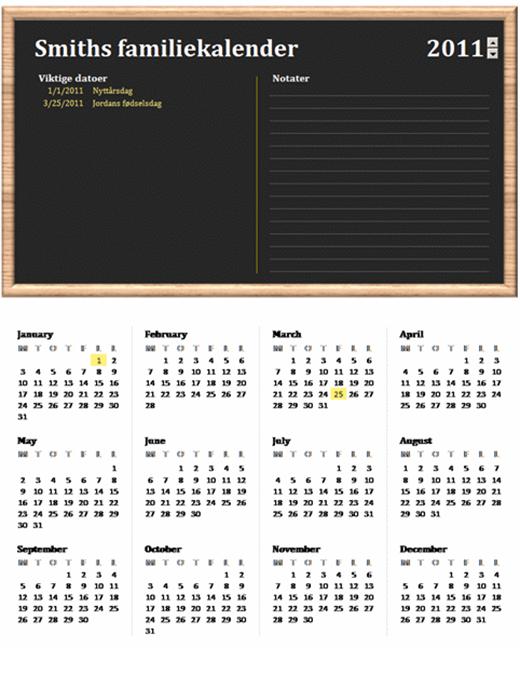 Familiekalender (hvilket som helst år, mandag til søndag)