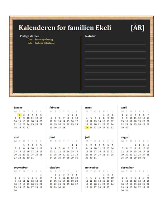 Familiekalender (alle år, man–søn)
