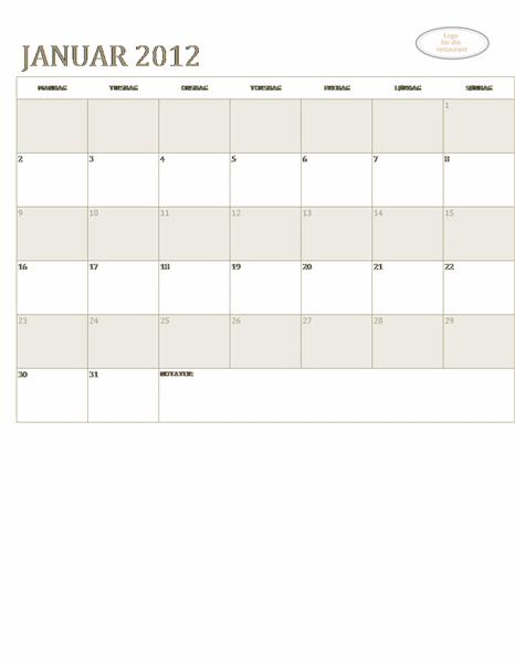 Kalender for småbedrifter (hvilket som helts år, mandag til søndag)