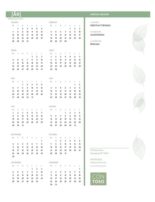 Kalender for småbedrifter (alle år, man–søn)