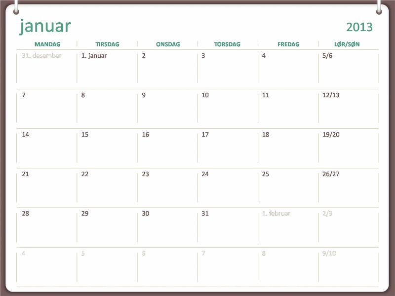 Kalender for 2013 med to ringer-utforming (mandag til søndag)