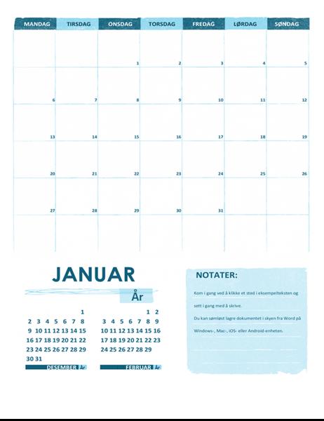 Akademisk kalender (én måned, ett hvilket som helst år, med start mandag)