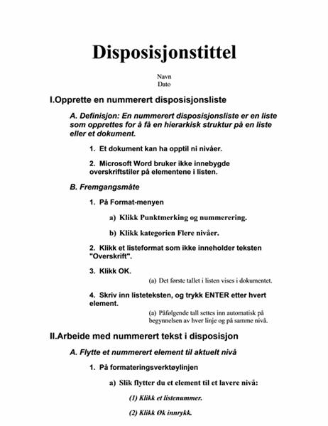 Disposisjon på fem nivåer med instruksjoner