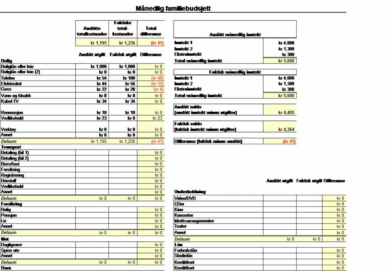 Månedlig familiebudsjett