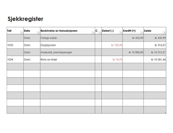 Sjekkregister (enkelt)