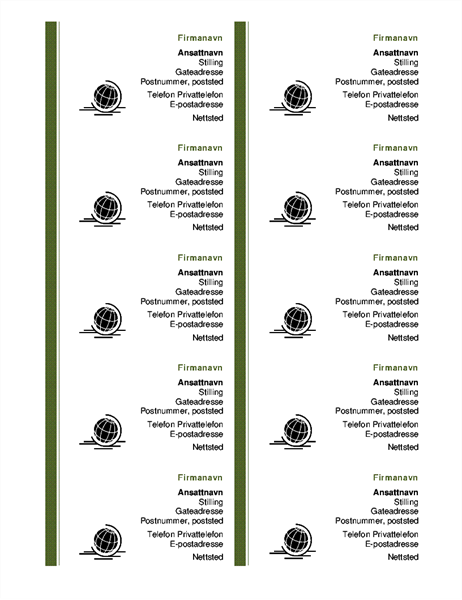 Visittkort, stående (10 per side)