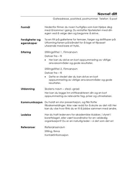 Funksjonell CV (minimalistisk utforming)