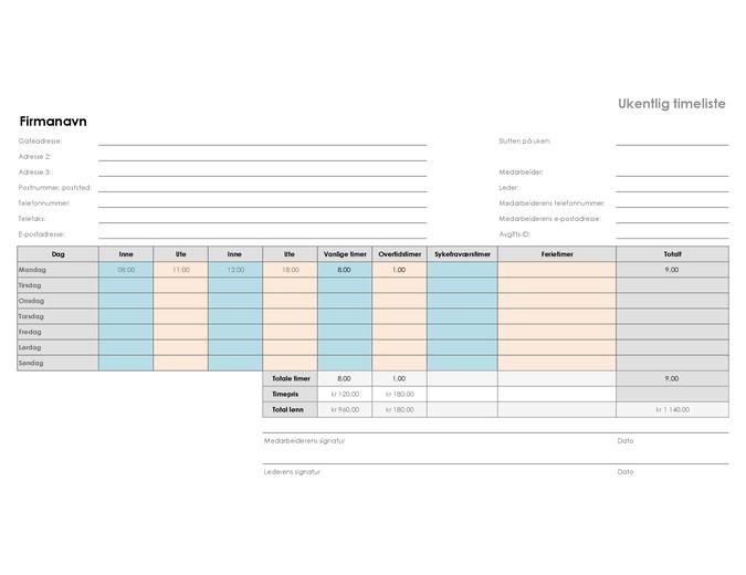 Ukentlig timeliste (8,5 x 11, liggende)