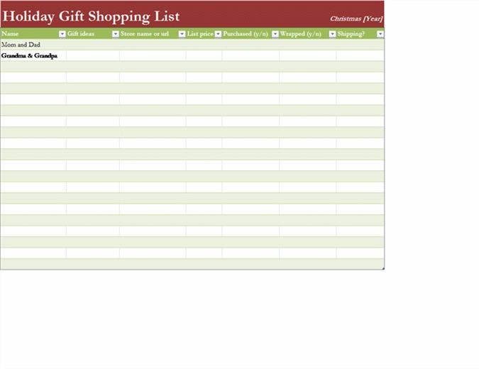 Handleliste for gaver