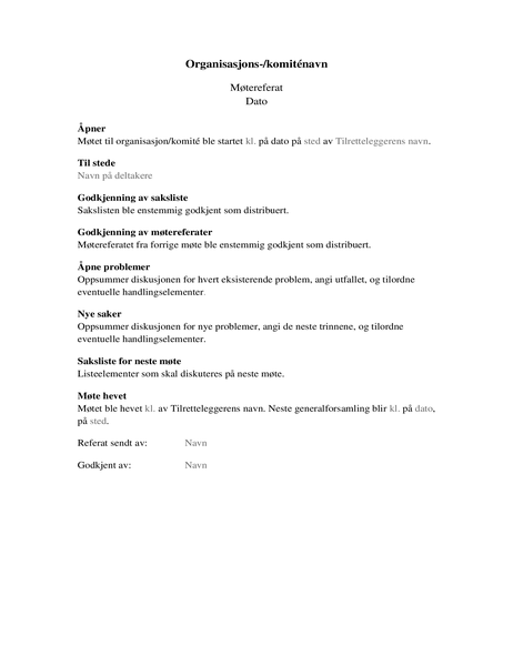 Referat fra organisasjonsmøte (langt skjema)