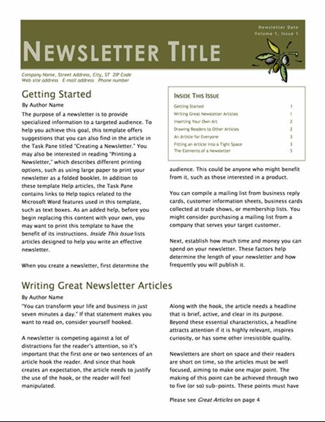 Forretningsnyhetsbrev (2 spalter, 6 sider, postprogram)