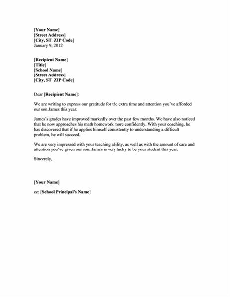 Takkebrev til lærer (barn i grunnskolen)