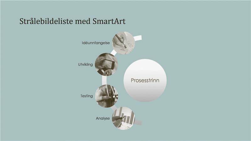 SmartArt-grafikk for prosess med strålebildeliste (widescreen)