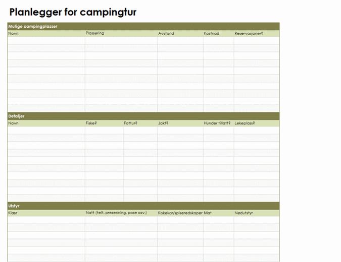 Planlegger for campingtur