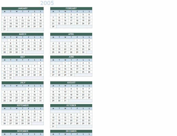 Årskalender 2005-2014 (man.–søn.)