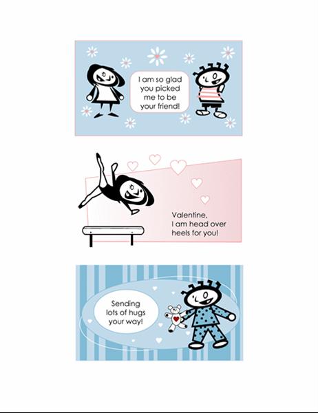 Gjør det selv-valentinskort for barn (4 sider med kortutforminger og 1 universell bakside)