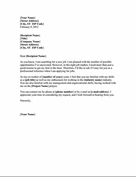 Forespørsel om anbefaling fra en tidligere kollega (blålinjetema)