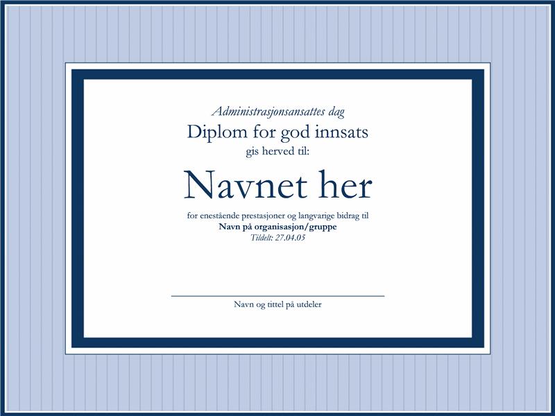 Diplom for god innsats for administratorer