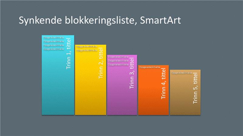 Lysbilde med SmartArt av synkende blokk (flere farger på grå bakgrunn), bredformat