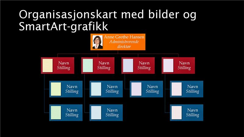 Lysbilde med organisasjonskart med bilde (flere farger på svart bakgrunn), bredformat