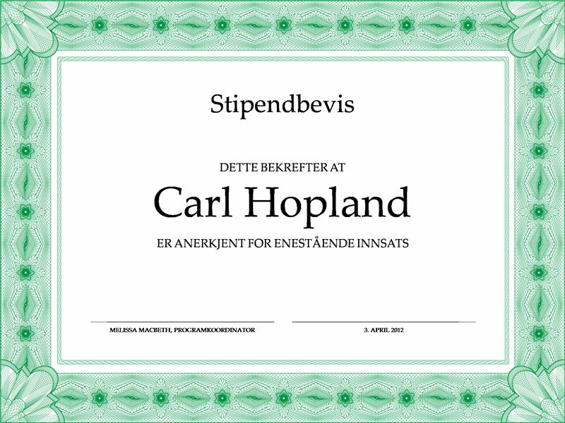 Stipendbevis (formell, grønn kantlinje)