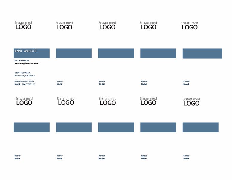 Visittkort, loddrett oppsett med logo, venstrejustert tekst