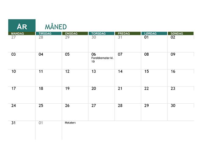 Akademisk kalender (alle år)