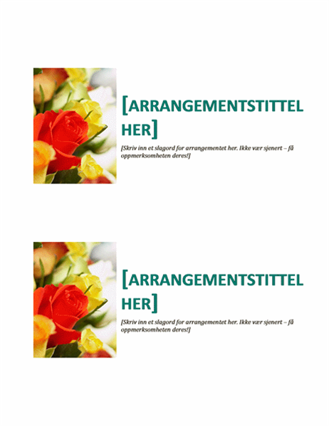 Postkort for arrangement