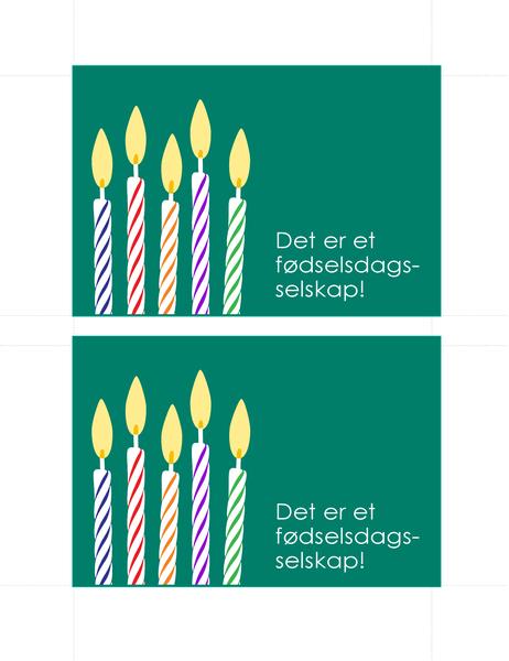 Postkort med fødselsdagsinvitasajon