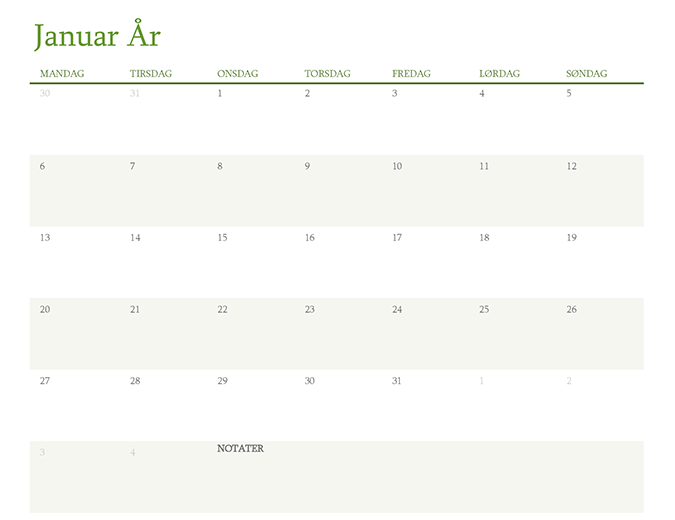 Kalender for hvilket som helst år (1 måned per fane)