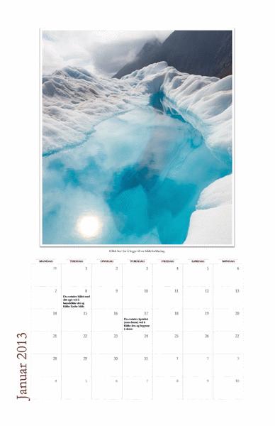 Månedlig fotokalender for 2013 (mandag–søndag)