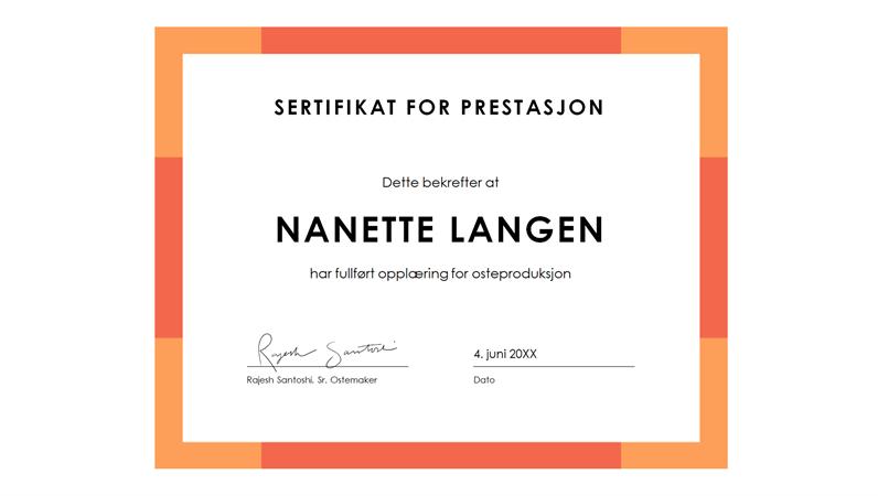 Diplom for prestasjon (blå)