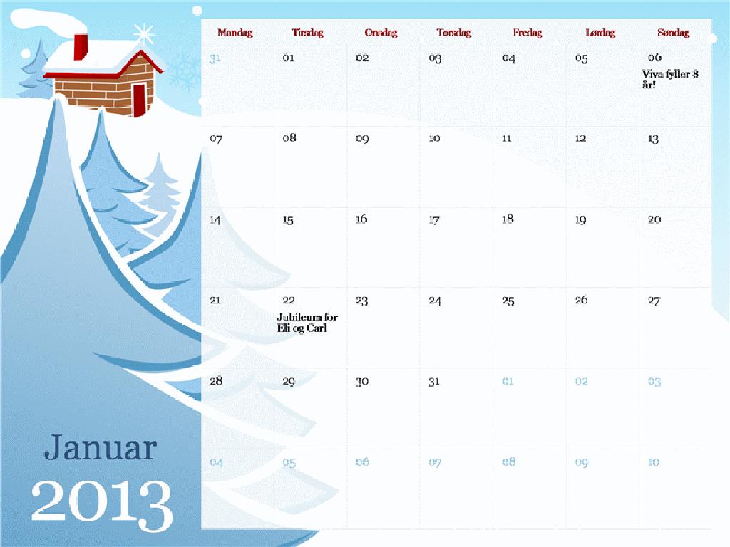 Illustrert sesongkalender for 2013, mandag til søndag