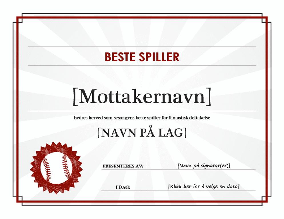 Diplom for beste spiller