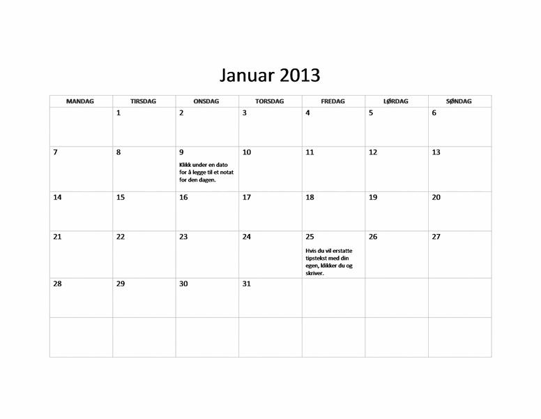 Grunnleggende kalender for 2013 (M-S)
