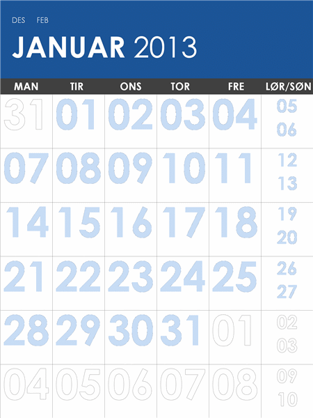 Kalender for 2013-2014, flerfarget (M-Søn)