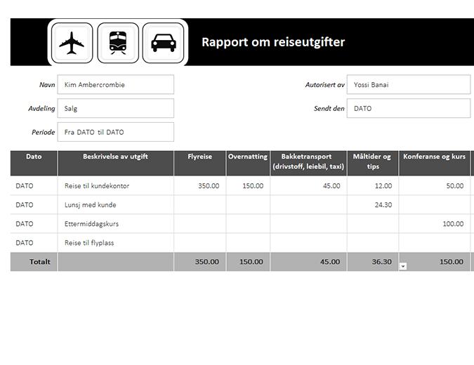 Rapport om reiseutgifter